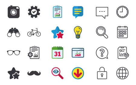 Hipster photo camera with mustache icon. Glasses symbol. Bicycle family vehicle sign. Chat, Report and Calendar signs. Stars, Statistics and Download icons. Question, Clock and Globe. Vector