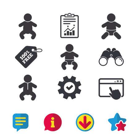 Pasgeboren pictogrammen. Baby baby of peuter symbolen. Kind silhouet. Browservenster, rapport en serviceborden. Verrekijker, informatie en download pictogrammen. Sterren en chatten. Vector