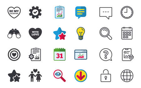 Valentine day love icons. Target aim with heart symbol. Couple lovers sign. Chat, Report and Calendar signs. Stars, Statistics and Download icons. Question, Clock and Globe. Vector
