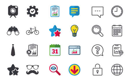 wearing: Hipster photo camera with mustache icon. Glasses and tie symbols. Bicycle family vehicle sign. Chat, Report and Calendar signs. Stars, Statistics and Download icons. Question, Clock and Globe. Vector