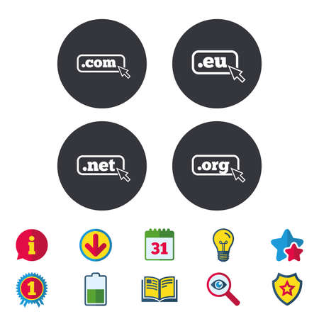 domain: Top-level internet domain icons. Com, Eu, Net and Org symbols with cursor pointer. Unique DNS names. Calendar, Information and Download signs. Stars, Award and Book icons. Vector