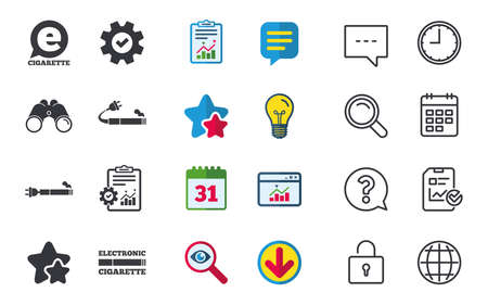 E-Cigarette with plug icons. Electronic smoking symbols. Speech bubble sign. Chat, Report and Calendar signs. Stars, Statistics and Download icons. Question, Clock and Globe. Vector