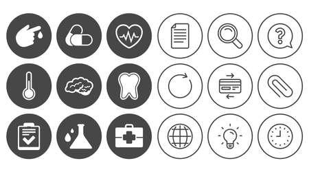 Medizin, Gesundheitswesen und Diagnose-Symbole. Zahn, Pillen und Arzt Fall Zeichen. Neurologie, Bluttestsymbole. Dokument, Globus und Uhr Linienschilder. Lampe, Lupe und Büroklammerikonen. Vektor Standard-Bild - 80473550