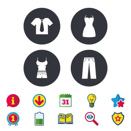 Clothes icons. T-shirt with business tie and pants signs. Women dress symbol. Calendar, Information and Download signs. Stars, Award and Book icons. Light bulb, Shield and Search. Vector