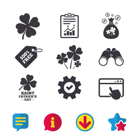 Saint Patrick day icons. Money bag with clovers and coins sign. Symbol of good luck. Browser window, Report and Service signs. Binoculars, Information and Download icons. Stars and Chat. Vector Illustration