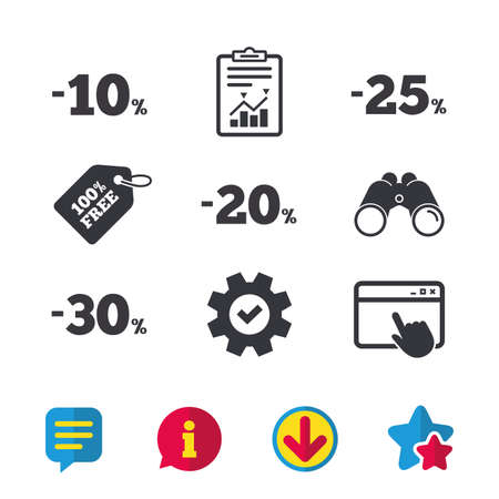 ten best: Sale discount icons. Special offer price signs. 10, 20, 25 and 30 percent off reduction symbols. Browser window, Report and Service signs. Binoculars, Information and Download icons. Stars and Chat