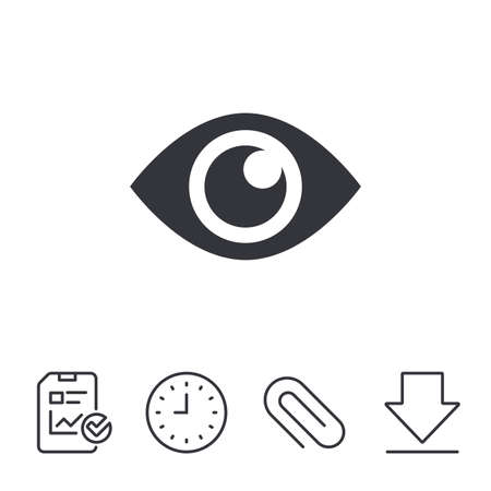 Eye sign icon. Publish content button. Visibility. Report, Time and Download line signs. Paper Clip linear icon. Vector Illustration