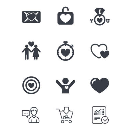 Love, valentine day icons. Target with heart, oath letter and locker symbols. Couple lovers, boyfriend signs. Customer service, Shopping cart and Report line signs. Online shopping and Statistics Illustration