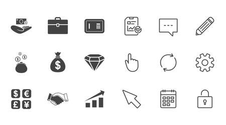 Money, cash and finance icons. Handshake, safe and currency exchange signs. Chart, case and jewelry symbols. Chat, Report and Calendar line signs. Service, Pencil and Locker icons. Vector Illustration