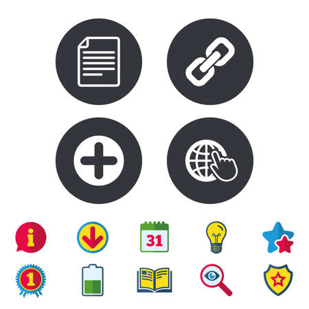 Plus add circle and hyperlink chain icons. Document file and globe with hand pointer sign symbols. Calendar, Information and Download signs. Stars, Award and Book icons. Light bulb, Shield and Search