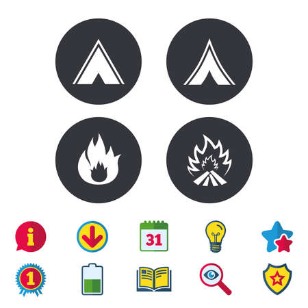 star award: Tourist camping tent icons. Fire flame sign symbols. Calendar, Information and Download signs. Stars, Award and Book icons. Light bulb, Shield and Search. Vector Illustration