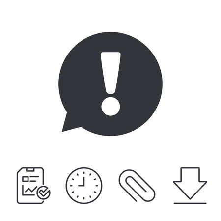 Exclamation mark sign icon. Attention speech bubble symbol. Report, Time and Download line signs. Paper Clip linear icon. Vector