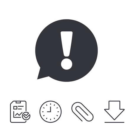 Uitroepteken tekenpictogram. Attentie speech bubble symbool. Rapport, Tijd en Download lijntekens. Paper Clip line-icoon. Vector