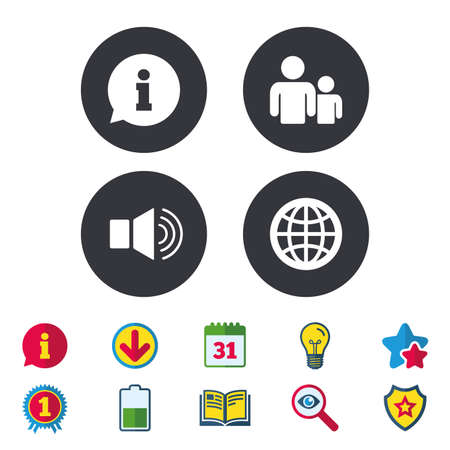 inform information: Information sign. Group of people and speaker volume symbols. Internet globe sign. Communication icons. Calendar, Information and Download signs. Stars, Award and Book icons. Vector Illustration