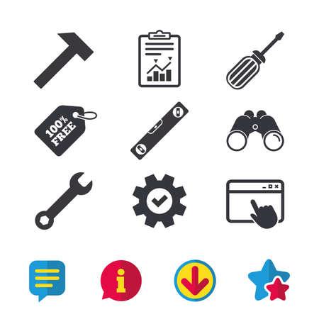 Schraubendreher und Schlüssel Schlüssel Symbole. Bubble Level und Hammer Zeichen Symbole. Browser-Fenster, Report- und Service-Zeichen. Ferngläser, Informations- und Download-Icons. Sterne und Chat. Vektor