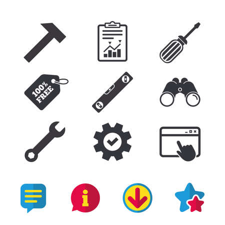 Screwdriver and wrench key tool icons. Bubble level and hammer sign symbols. Browser window, Report and Service signs. Binoculars, Information and Download icons. Stars and Chat. Vector 向量圖像