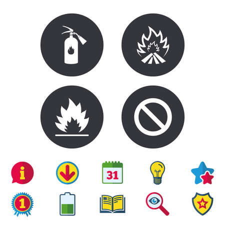 Fire flame icons. Fire extinguisher sign. Prohibition stop symbol. Calendar, Information and Download signs. Stars, Award and Book icons. Light bulb, Shield and Search. Vector Illustration