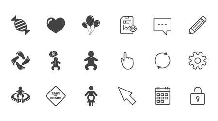 Pregnancy, maternity and baby care icons. Candy, strollers and fasten seat belt signs. Footprint, love and balloon symbols. Chat, Report and Calendar line signs. Service, Pencil and Locker icons 向量圖像