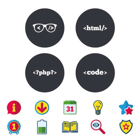 hypertext: Programmer coder glasses icon. HTML markup language and PHP programming language sign symbols. Calendar, Information and Download signs. Stars, Award and Book icons. Light bulb, Shield and Search
