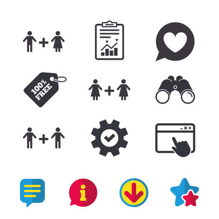 Couple love icon. Lesbian and Gay lovers signs. Romantic homosexual relationships. Speech bubble with heart symbol. Browser window, Report and Service signs. Binoculars, Information and Download icons