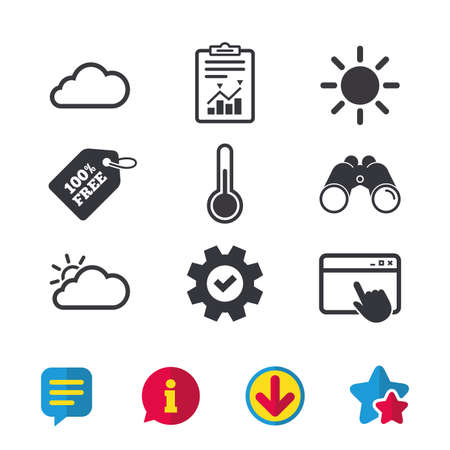 Weather icons. Cloud and sun signs. Thermometer temperature symbol. Browser window, Report and Service signs. Binoculars, Information and Download icons. Stars and Chat. Vector