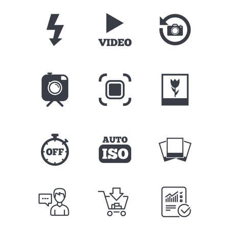 Foto, video iconen. Camera, foto's en beeldtekens. Flash-, timer- en macro symbolen. Klantenservice, Winkelwagentje en Report line signs. Online winkelen en statistieken. Vector Stock Illustratie