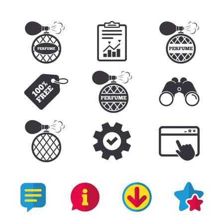 Parfumflesjes pictogrammen. Glamour geurtekensymbolen. Browservenster, rapport en serviceborden. Verrekijker, informatie en download pictogrammen. Sterren en chatten. Vector