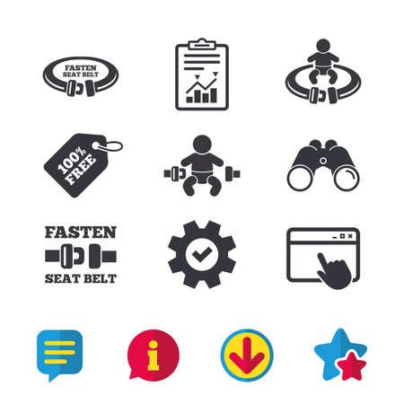Fixez les icônes de la ceinture de sécurité. Sécurité des enfants dans les symboles d'accident. Panneaux de ceinture de sécurité du véhicule. Fenêtre du navigateur, signes de rapport et de service. Jumelles, informations et icônes de téléchargement. Stars et Chat. Vecteur Banque d'images - 80473619