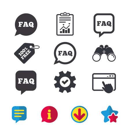 FAQ 정보 아이콘. 연설 거품 기호를 도와주세요. 원과 광장 토크 표지판. 브라우저 창, 보고서 및 서비스 표지판. 쌍안경, 정보 및 다운로드 아이콘. 별과