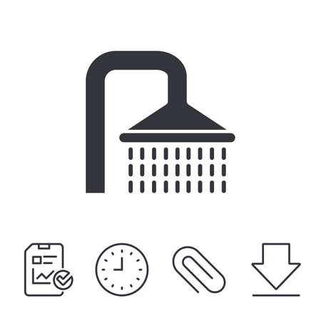 シャワー記号アイコン。水の潅水は、シンボルを削除します。レポート、時間、線記号をダウンロードします。ペーパー クリップ線形アイコン。ベ