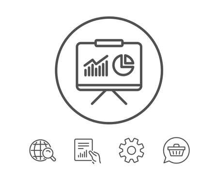 프레 젠 테이 션 보드 라인 아이콘입니다. 차트 또는 매출 성장 사인을보고하십시오. 분석 및 통계 데이터 기호입니다. 보고서, 서비스 및 글로벌 검색