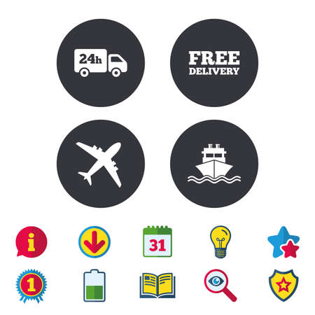 Cargo truck and shipping icons. Shipping and free delivery signs. Transport symbols. 24h service. Calendar, Information and Download signs. Stars, Award and Book icons. Light bulb, Shield and Search Illustration