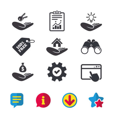 patent key: Helping hands icons. Financial money savings insurance symbol. Home house or real estate and lamp, key signs. Browser window, Report and Service signs. Binoculars, Information and Download icons Illustration