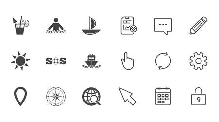 compass rose: Cruise trip, ship and yacht icons. Travel, cocktail and sun signs. Sos, windrose compass and swimming symbols. Chat, Report and Calendar line signs. Service, Pencil and Locker icons. Vector