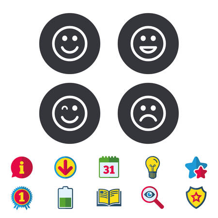 Smile icons. Happy, sad and wink faces symbol. Laughing lol smiley signs. Calendar, Information and Download signs. Stars, Award and Book icons. Light bulb, Shield and Search. Vector Ilustração
