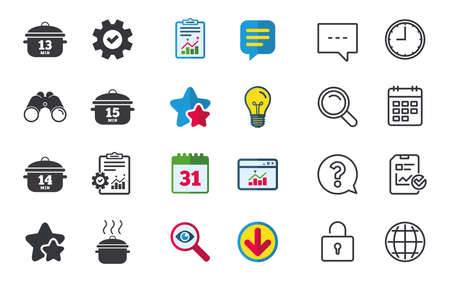 Cooking pan icons. Boil 13, 14 and 15 minutes signs. Stew food symbol. Chat, Report and Calendar signs. Stars, Statistics and Download icons. Question, Clock and Globe. Vector