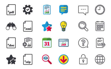 Download document icons. File extensions symbols. PDF, ZIP zipped, XML and DOC signs. Chat, Report and Calendar signs. Stars, Statistics and Download icons. Question, Clock and Globe. Vector Illustration