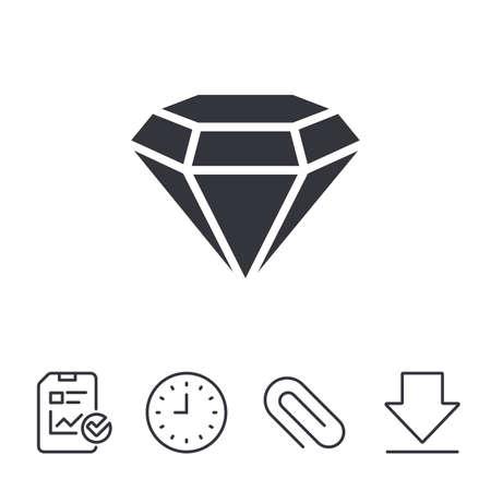 記号、ひし形のアイコン。ジュエリーのシンボル。宝石の石。レポート、時間、線記号をダウンロードします。ペーパー クリップ線形アイコン。ベ