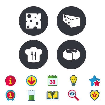 star award: Cheese icons. Round cheese wheel sign. Sliced food with chief hat symbols. Calendar, Information and Download signs. Stars, Award and Book icons. Light bulb, Shield and Search. Vector