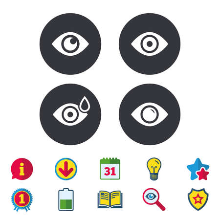 Eye icons. Water drops in the eye symbols. Red eye effect signs. Calendar, Information and Download signs. Stars, Award and Book icons. Light bulb, Shield and Search. Vector