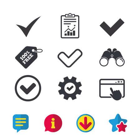 Controleer pictogrammen. Selectievakje bevestig tekens van cirkelsymbolen. Browservenster, rapport en serviceborden. Verrekijker, informatie en download pictogrammen. Sterren en chatten. Vector Stock Illustratie