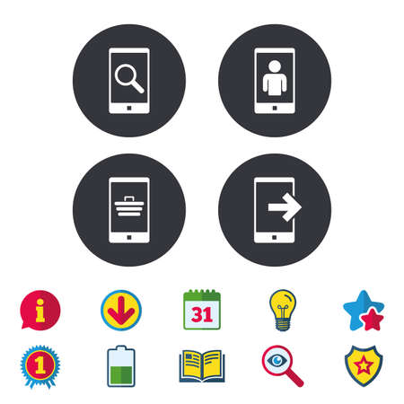 star award: Phone icons. Smartphone video call sign. Search, online shopping symbols. Outcoming call. Calendar, Information and Download signs. Stars, Award and Book icons. Light bulb, Shield and Search. Vector