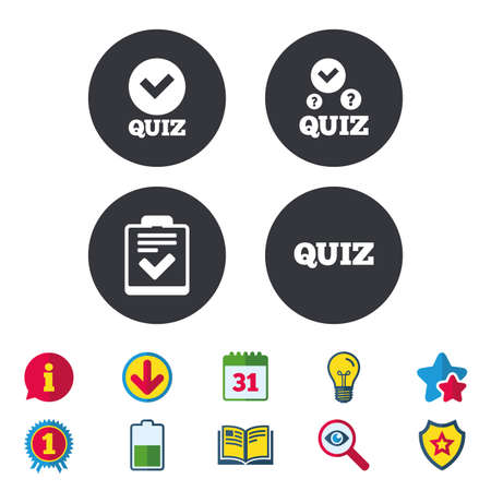 queries: Quiz icons. Checklist with check mark symbol. Survey poll or questionnaire feedback form sign. Calendar, Information and Download signs. Stars, Award and Book icons. Light bulb, Shield and Search Illustration