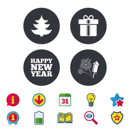 Happy new year icon. Christmas tree and gift box signs. Fireworks rocket symbol. Calendar, Information and Download signs. Stars, Award and Book icons. Light bulb, Shield and Search. Vector