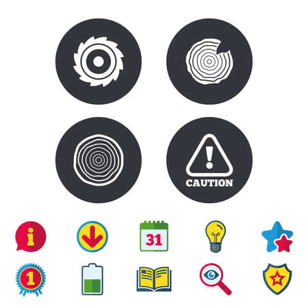 warning saw: Wood and saw circular wheel icons. Attention caution symbol. Sawmill or woodworking factory signs. Calendar, Information and Download signs. Stars, Award and Book icons. Light bulb, Shield and Search