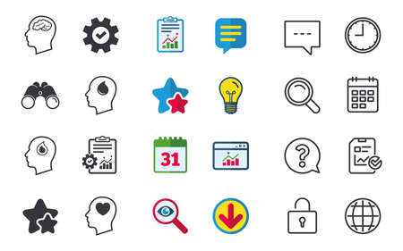 token: Head with brain icon. Male human think symbols. Blood drop donation sign. Love heart. Chat, Report and Calendar signs. Stars, Statistics and Download icons. Question, Clock and Globe. Vector