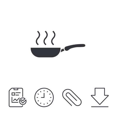 フライパン記号アイコン。フライやロースト料理のシンボル。レポート、時間、線記号をダウンロードします。ペーパー クリップ線形アイコン。ベ