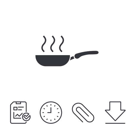 Frying pan sign icon. Fry or roast food symbol. Report, Time and Download line signs. Paper Clip linear icon. Vector Illustration