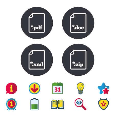 ドキュメント アイコンをダウンロードしてください。ファイル拡張子のシンボル。PDF、ZIP 圧縮、XML およびドキュメントに署名します。カレンダー
