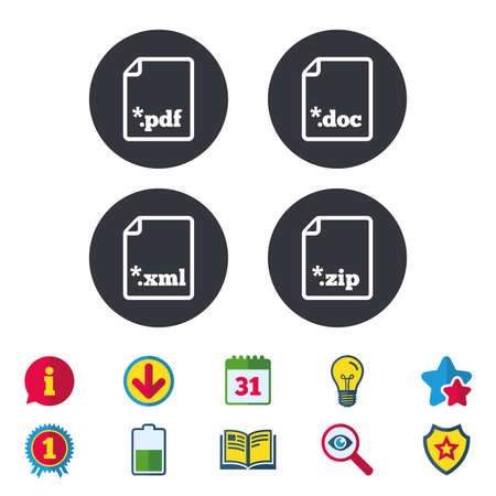 star award: Download document icons. File extensions symbols. PDF, ZIP zipped, XML and DOC signs. Calendar, Information and Download signs. Stars, Award and Book icons. Light bulb, Shield and Search. Vector